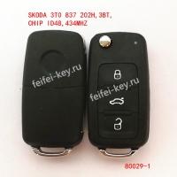 Ключ SKODA 3TO 837 202H 3кн CHIP ID48 M34Mhz